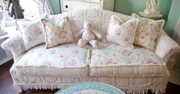 rose sofa slipcover console and tables shabby chic couch ed vintage chenille ...