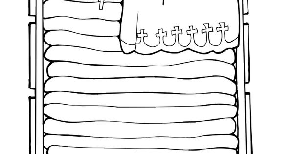 Princess and the pea coloring page: atop many mattresses