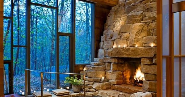 chairs for small spaces oversized accent living room hot tub/fireplace with a view! can picture this snow outside | cottage/summer home/log ...