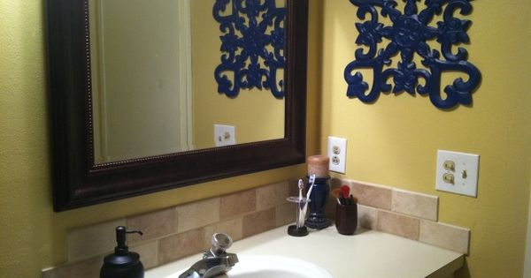 Navy And Yellow Bathroom Rugs