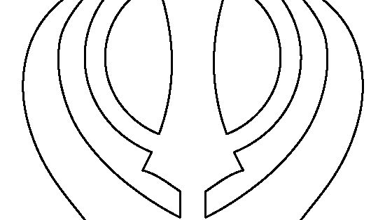 Khanda pattern. Use the printable outline for crafts