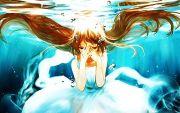 pretty anime girl underwater floating