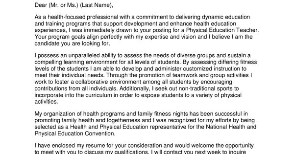 Professional Teacher Cover Letter  PhysicalEducation