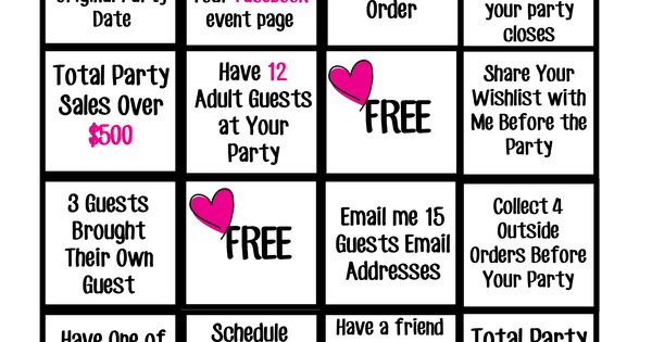 Hostess Bingo :) Book a Pure Romance by Caitlin party and