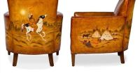Hand painted Leather Chair with Native American designs