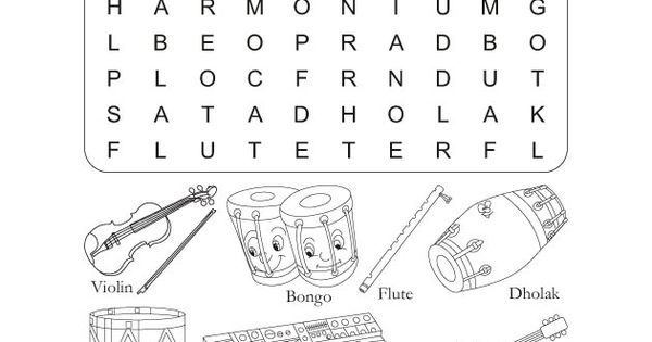 Color in pages. Word Search Puzzle Musical Instruments
