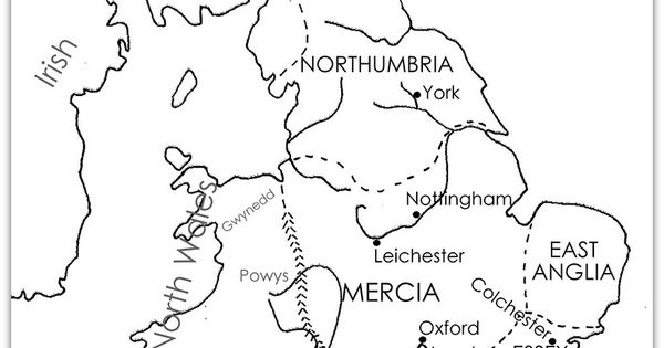 Anglo Saxon kingdoms in about 700AD. Free printable with a