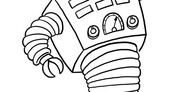 Coloriage Robot à roulette et dessin à colorier Robot à