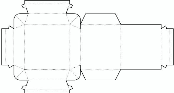 Die cutting image of Cylinder box templates no02