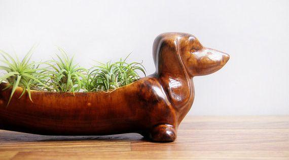 kitchen caddy red knife block set vintage ceramic dachshund planter / wiener dog ...