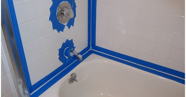 Cleaning and recaulking bathtub surround tiles with black moldy grout  Pins Accomplished