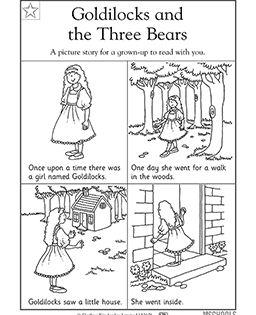 Kindergarten, Preschool Reading Worksheets: Goldilocks and