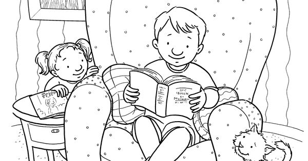 Coloring page for Primary kids from lds.org. Child reading