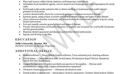 Resume Objective Dental Hygienist