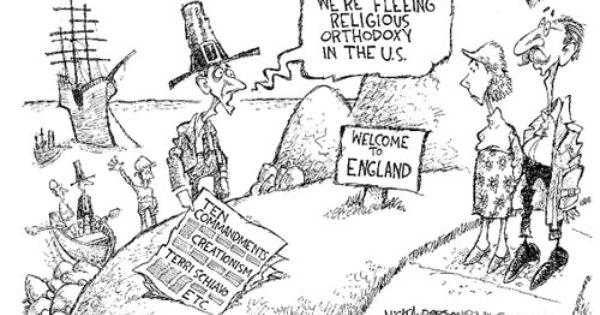cartoons about pilgrims fleeing religious persecution
