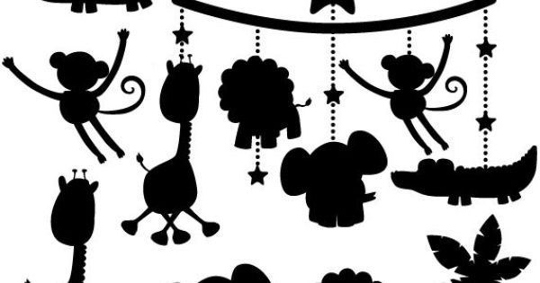Animal Silhouettes Digital Clipart, Lion, Giraffe, Monkey