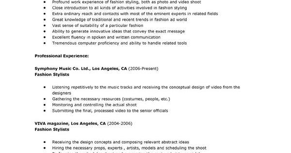 wardrobe stylist resume examples