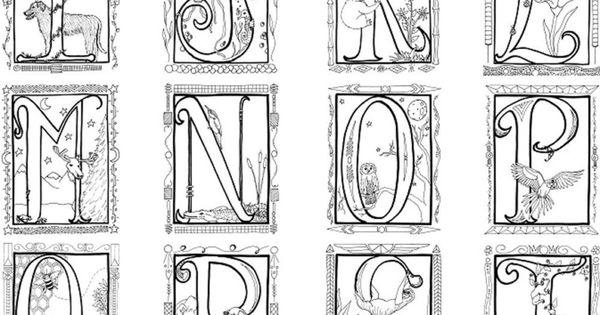 Illuminated Alphabet Coloring Poster. $8.00, via Etsy