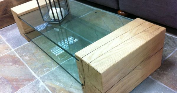 Coffee table made from new oak railway sleepers and toughened glass  logo  Pinterest  Mesas Madera y Centro