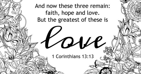The greatest of these is love coloring page! And more free