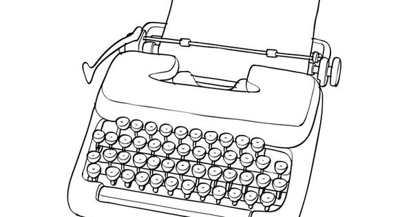 Black and white drawing of a typewriter. Published on