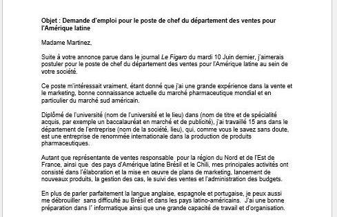 Bewerbungsvorlagen – Ausland – Bewerbung Französisch