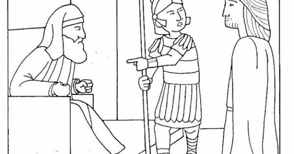 Pinto Dibujos: Jesús ante el Sanedrín para colorear