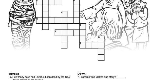 John 11 Lazarus Sunday School Crossword Puzzles: Both fun