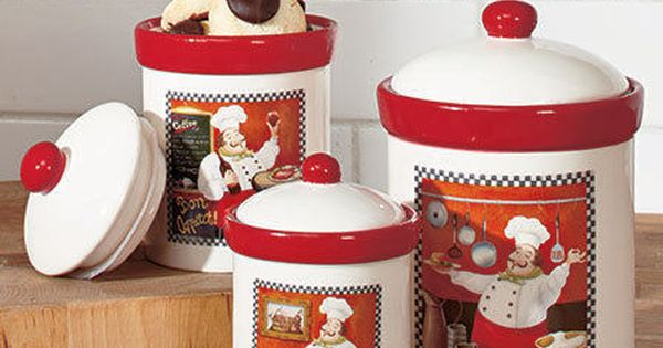 italian bistro kitchen decorating ideas flush mount ceiling lights fat chef canisters set cookie jars red ...