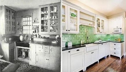 1920s and current kitchen style backsplash and cabinets  Hobo Cottage  Pinterest  White
