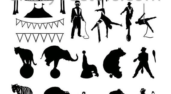 Circus Silhouettes Vector File SVG by CraftyVectors on