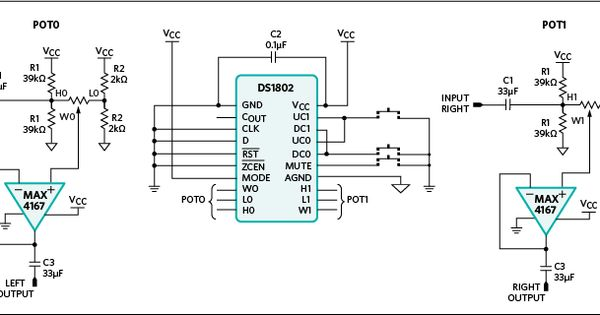 Figure 5. Preamplifier circuit with pushbutton attenuator