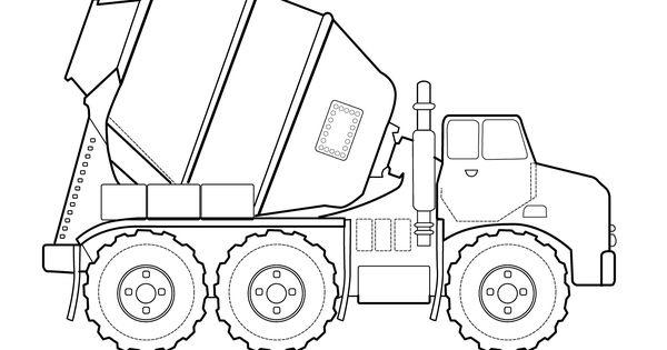Concrete truck Transportation coloring pages for kids