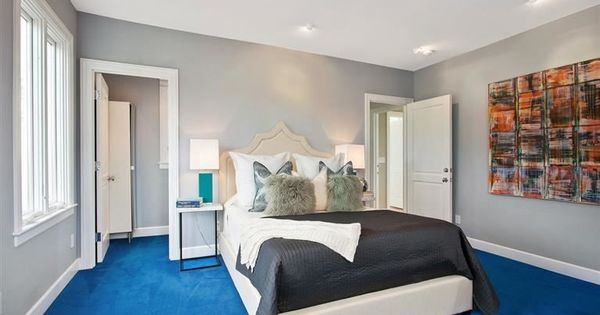 Bedroom With Gray Whiles And Bright Blue Carpet Home
