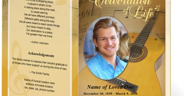 Funeral Bulletins Template Guitar Single Fold Musical Theme Creative Memorials With Funeral