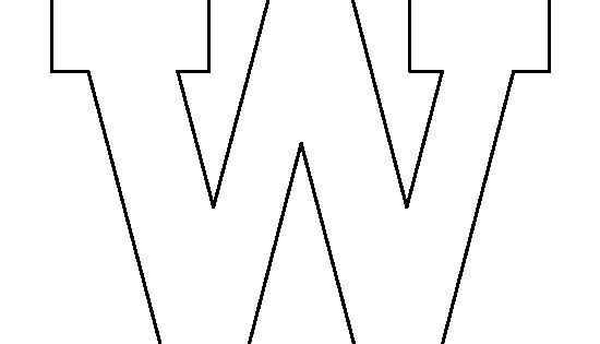 Lowercase letter W pattern. Use the printable outline for