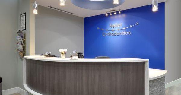 Blue and Stone Modern Reception Desk Dental Office Design