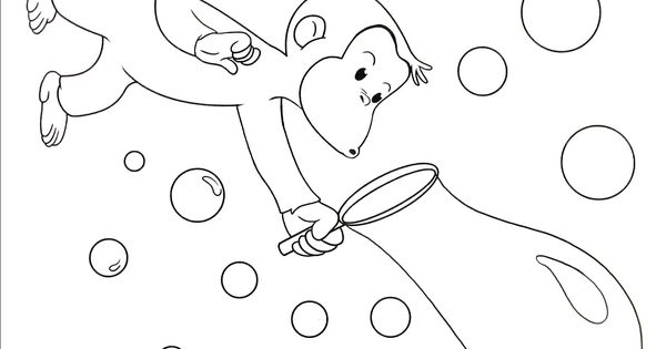 Curious George Blowing Bubbles Coloring Book Page