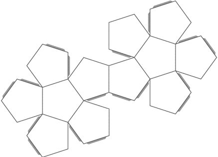 Template pattern for making a dodecahedron (12 pentagonal