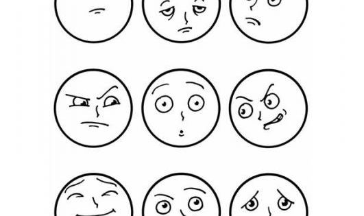 Facial expressions coloring page. This was re-pinned by