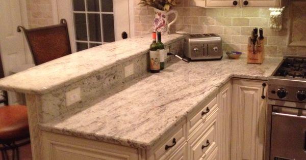 antique white kitchen cabinets denver my diy kitchen. two tier peninsula, viking range, stools ...