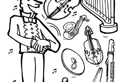 I Know a Shy Fellow Who Swallowed a Cello coloring page