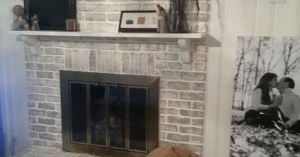 Grey Paint Wash On A Brick Fireplace Before Amp After