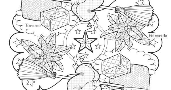 Coloriage / dessin Mandala de Noël italien avec la Befana