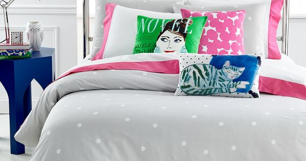kate spade new york Deco Dot Platinum FullQueen Duvet