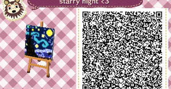 Animal Crossing New Leaf Wallpaper Qr Acnl Qr Code Painting Starry Night Vincent Van Gogh Ac