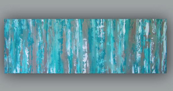 Turquoise wall art, Abstract canvas print panoramic, Aqua