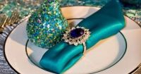 Turquoise and gold table setting   Turquoise & Gold ...