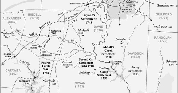 map of The Great Wagon Road; 1700s route for passage to