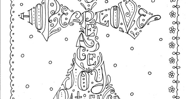 Instant Download Cross Scripture Coloring Page by